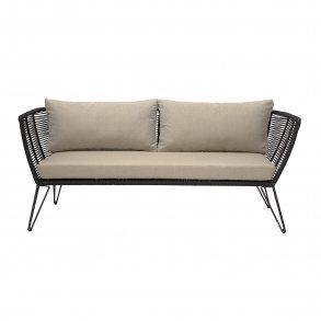 Mundo Lounge Stol mSkammel, Sort, Metal, Polyester