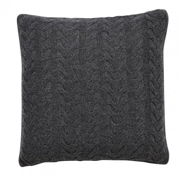 Fabelaktig Hübsch - Pude i lammeuld m/ strikket mønster, Mørk Grå - Sanzliving.dk OB-51